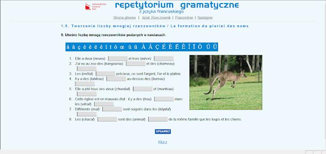 """Recenzje #2 - """"Repetytorium gramatyczne z języka francuskiego"""" - przykładowy ekran ćwiczeń 3 - Francuski przy kawie"""