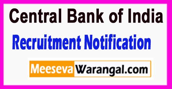 CBI Central Bank of India Recruitment Notification