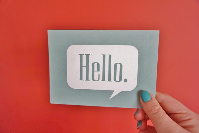 postcard saying hello