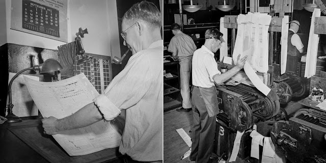 (Left) A mat is inspected for faults and blemishes. (Right) The proof press turns out proofs for distribution to make-up editors for correction.