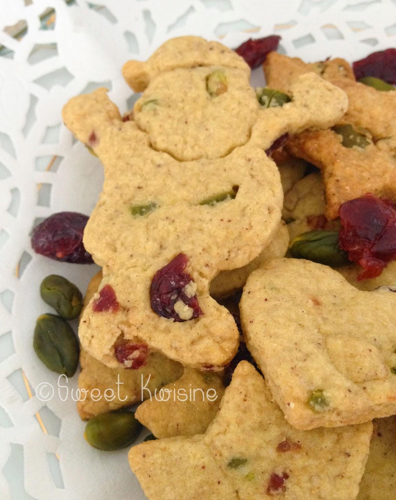 Sweet Kwisine, recette, biscuit, noel, cranberries, pistache, sablés, canneberge