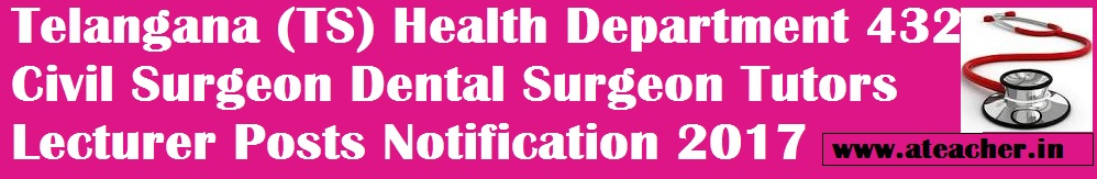 Telangana (TS) Health Department 432 Civil Surgeon Dental Surgeon Tutors Lecturer Posts Notification 2017
