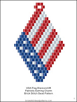Free patriotic brick stitch seed bead earring pattern printable pdf.