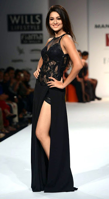 Gauhar Khan in Thigh High Slit Dress
