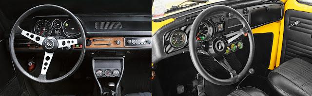 Foto mostrando o interior Passat TS e Fusca 1600S