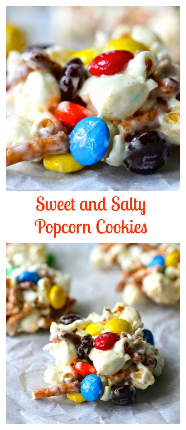 These sweet and salty popcorn cookies are so satisfyingly tasty. You get crunch, you get sweet, you get saltiness, and you get chocolate, all in the guise of a little mini popcorn ball of a cookie.