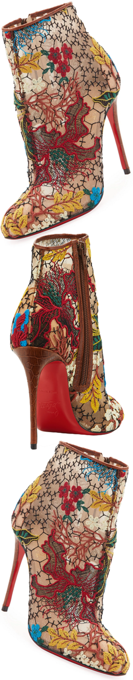 Christian Louboutin Miss Tennis Embroidered Lace Red Sole Bootie, Brown