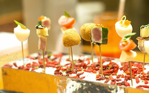 Assorted Amuse Bouche on skewers for sharing at C's Steak & Seafood Restaurant