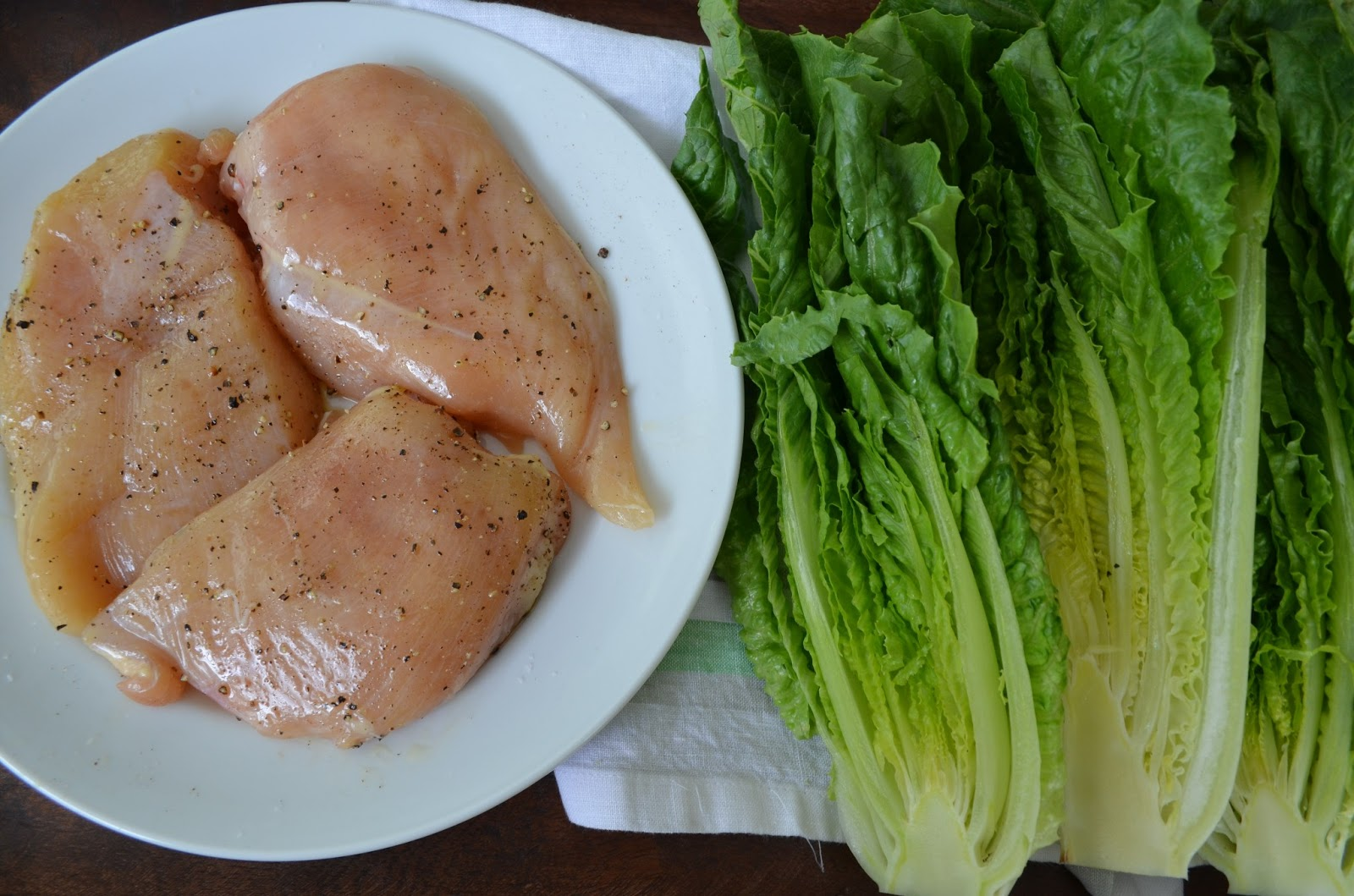 Parmesan Chicken With Roasted Romaine Lettuce