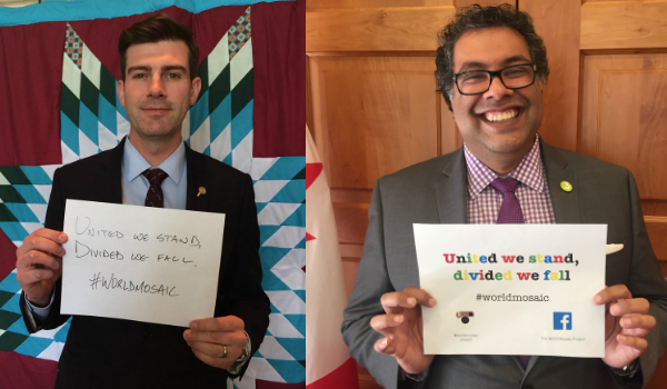 Mayors Don Iveson and Naheed Nenshi stand united with #worldmosaic