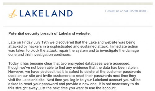 Lakeland hacked, all customer passwords deleted         -          Hack Reports