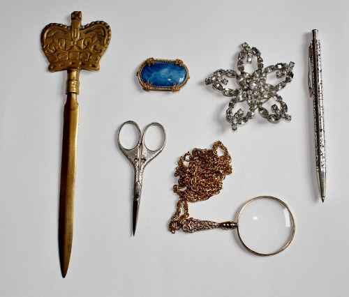 vintage jewelry, letter opener, scissors, magnifying glass