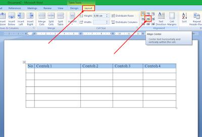 Cara Membuat Tulisan Tepat di Tengah Tabel MS Word 4