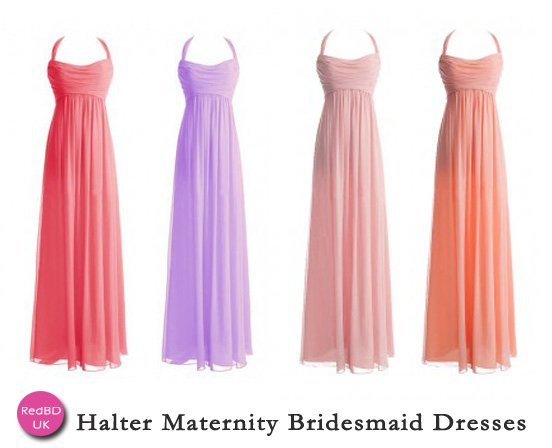More halter maternity bridesmaid dresses in Red