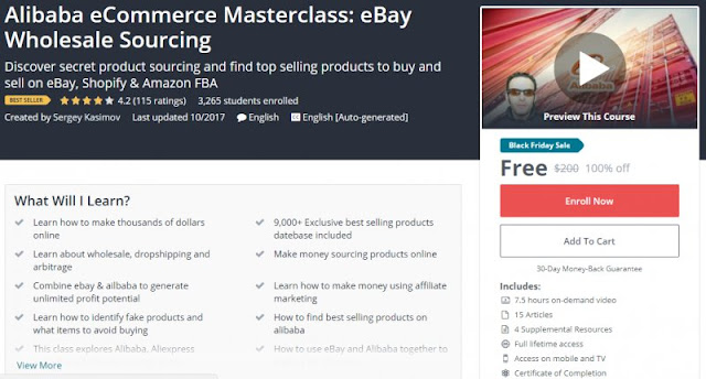 [BESTSELLING][100% Off] Alibaba eCommerce Masterclass: eBay Wholesale Sourcing| Worth 200$