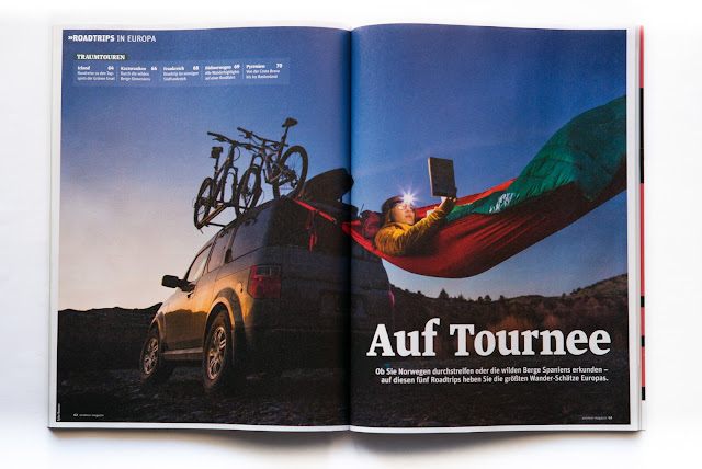 Print media for an outdoor german magazine on road trips across Europe.