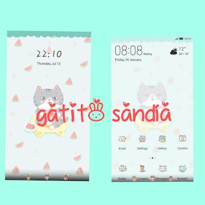 Huawei Theme : Gatito Sandia (Cat) Theme For EMUI 5