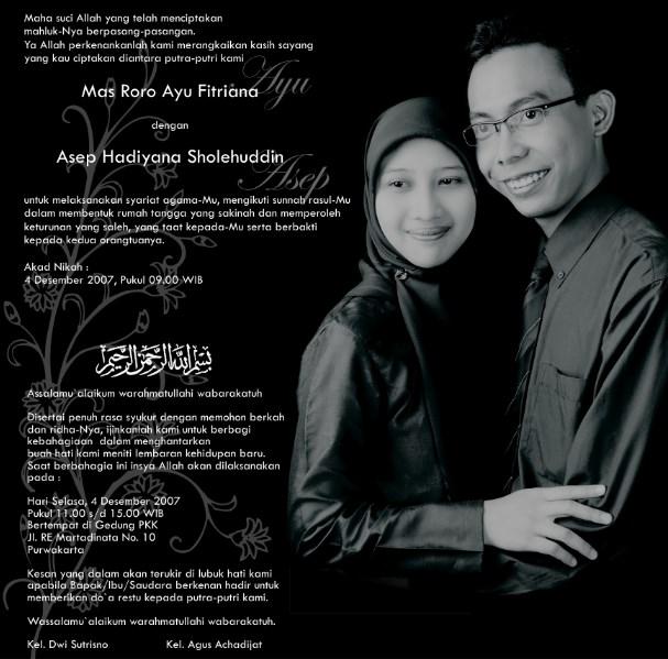 Contoh Undangan Pernikan Dan KataKata Undangan  Assalam Print