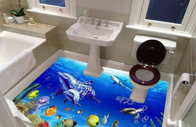 3d floor art, 3d flooring for bathroom, 3d undersea floor mural