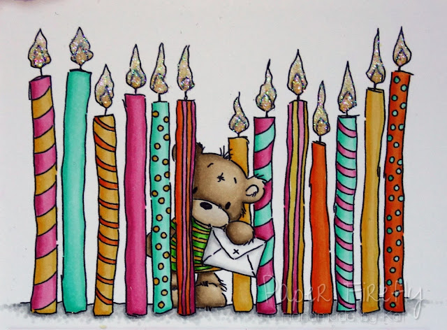Colourful birthday card with many candles and cute bear (image from Lili of the Valley)