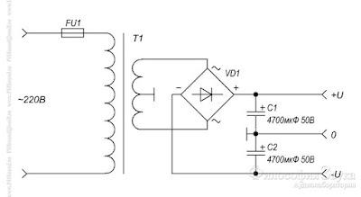 """Схема блока питания для усилителя """"Кристалл"""" на микросхеме TDA7294"""
