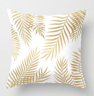 capa almofada folhas douradas