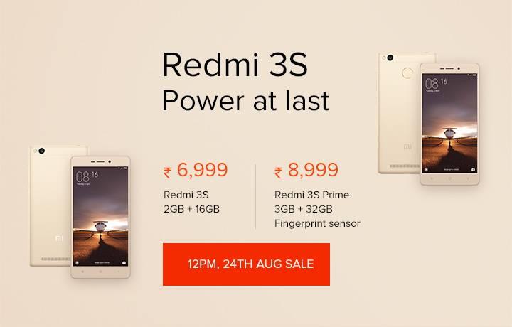 Xiaomi Redmi 3s & Redmi 3s Prime to go on sale at 12PM on