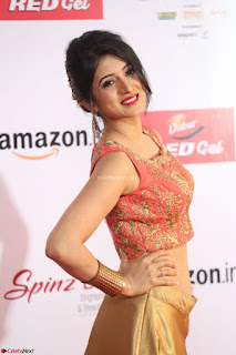 Harshika Ponnacha in orange blouuse brown skirt at Mirchi Music Awards South 2017 ~  Exclusive Celebrities Galleries 021.JPG