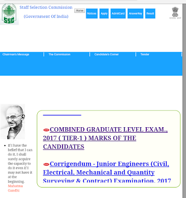 SSC CGL 2017 tier 1 Marks out