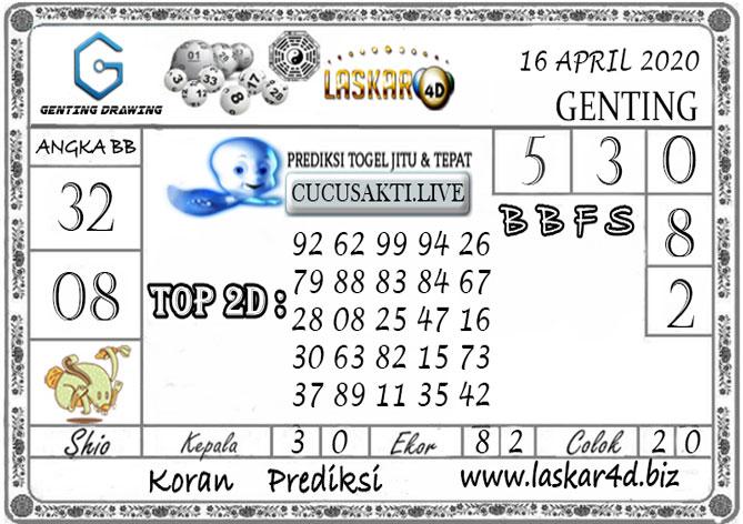 Prediksi GENTING DRAWING LASKAR4D 16 APRIL 2020