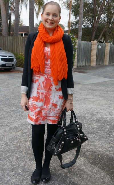 orange printed sheath dress black jersey blazer matching crinkle scarf balenciaga part time bag | away from the blue