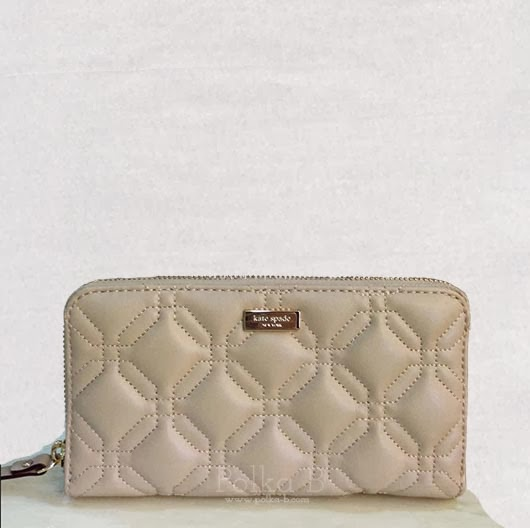 Kate Spade Quilted Leather Wallet In Beige Polka B