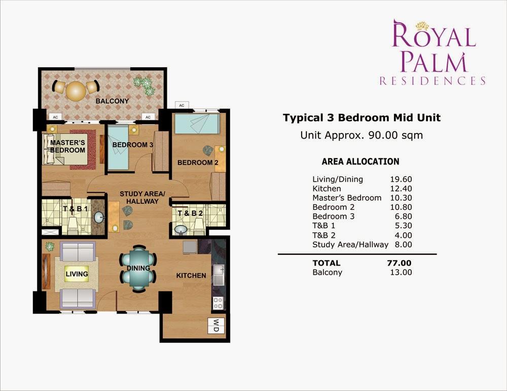 Royal Plam Residences - 3 Bedroom Unit 90.00 sqm.
