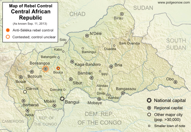 Map of 2013 counter-rebellion in the Central African Republic, showing current control by anti-Séléka (possibly pro-Bozizé) rebels as known on September 11, 2013.