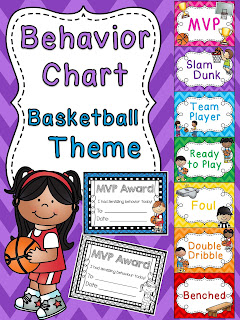 Basketball behavior chart for sports theme classroom a bunch of other fun behavior clip charts!