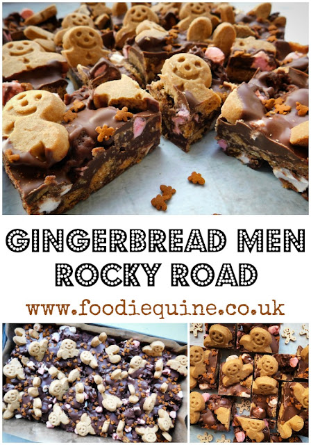 www.foodiequine.co.uk The classic Rocky Road takes on a festive twist with the addition of mini Gingerbread Men. Run run as fast as you can - this no bake Christmas treat won't hang around for long. A quick, easy and fun traybake that's ideal for kids to help make.