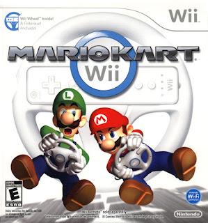 Portada del disco de Mario Kart para la Nintendo Wii, 2008. El mando de Wii simula un volante