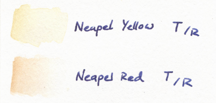 napel yellow napel red talens rembrandt watercolours aquarelle