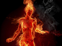 a girl masturbating in hell fire