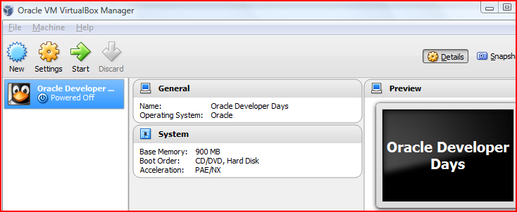 Oracle developer day VM : How to use Pre-Built Oracle