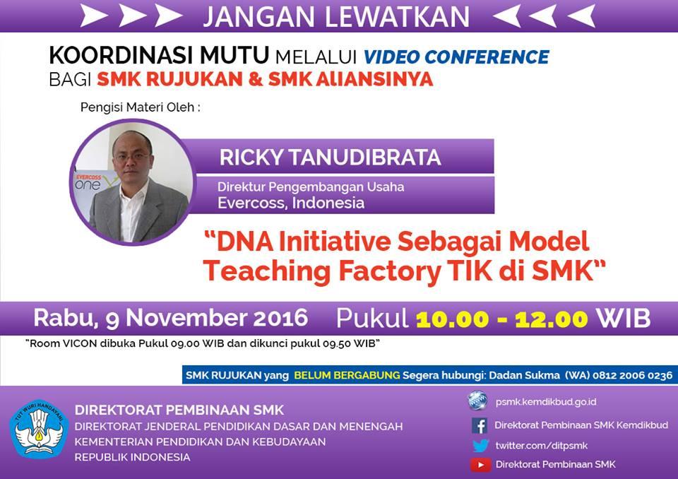 Materi Vicon Dna Initiative Sebagai Model Teaching Factory Tik Di Smk Komunitas Smk Kabupaten