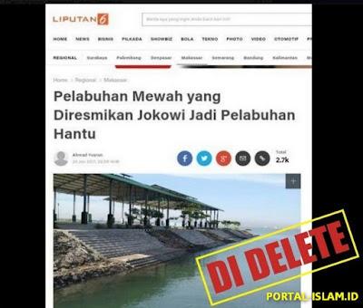 """WADUH! Berita Menohok Liputan6 """"Pelabuhan Mewah yang Diresmikan Jokowi Jadi Pelabuhan Hantu"""", Langsung DI DELETE"""