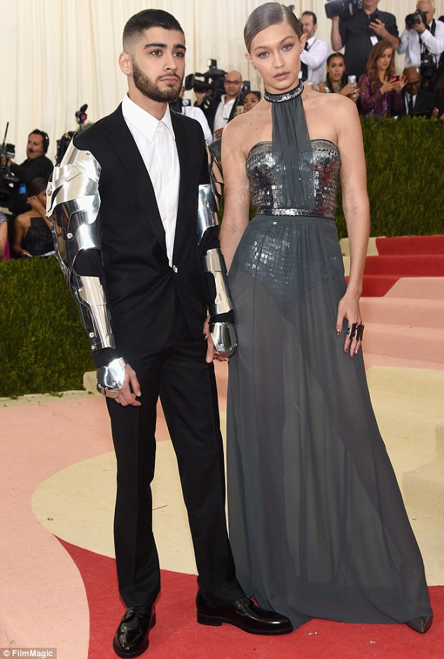 Gigi and Zayn wear metallic outfits to the Met Gala 2016