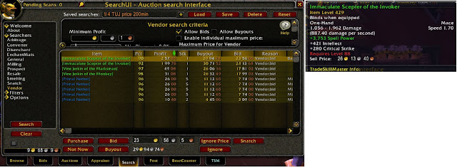 World of Warcraft auctioneer arbitrage search
