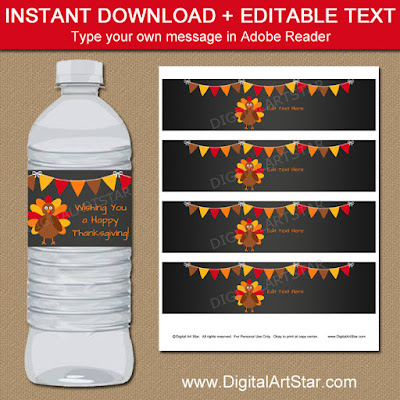 thanksgiving chalkboard water bottle labels