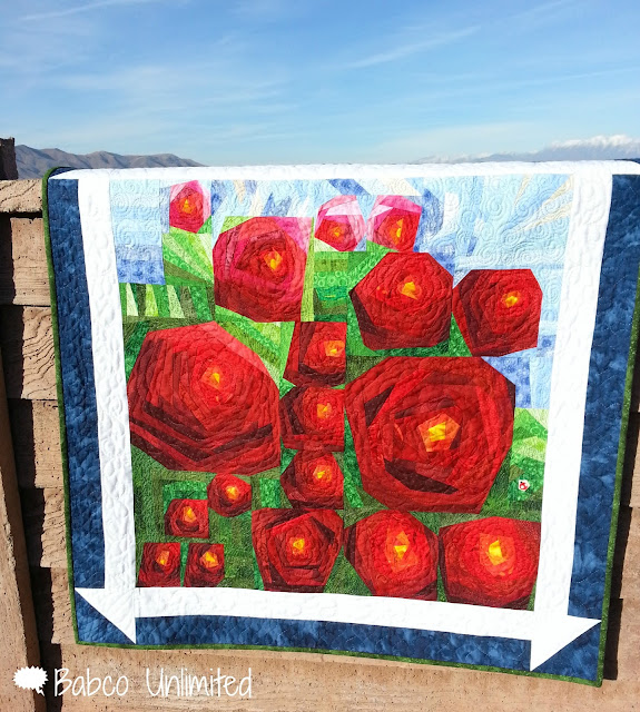 BabcoUnlimited.blogspot.com - Painting the Roses Red quilt, Challenge Quilt, Roses Quilt