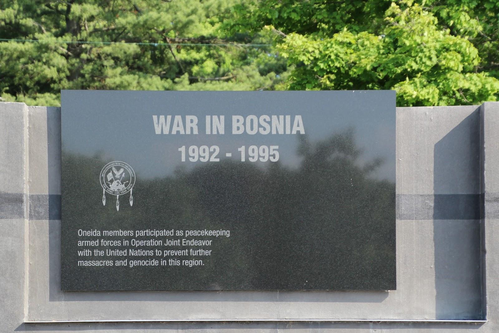 Oneida Veterans Memorial War In Bosnia 1992 1995