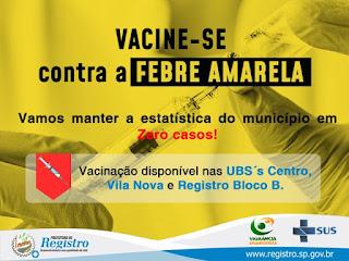 Registro-SP intensifica imunização contra a febre amarela na zona rural para manter a estatística do município em Zero casos