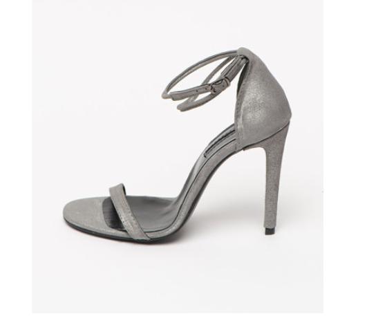 Sandale argintii cu toc subtire de piele intoarsa naturala Mihaela Glavan