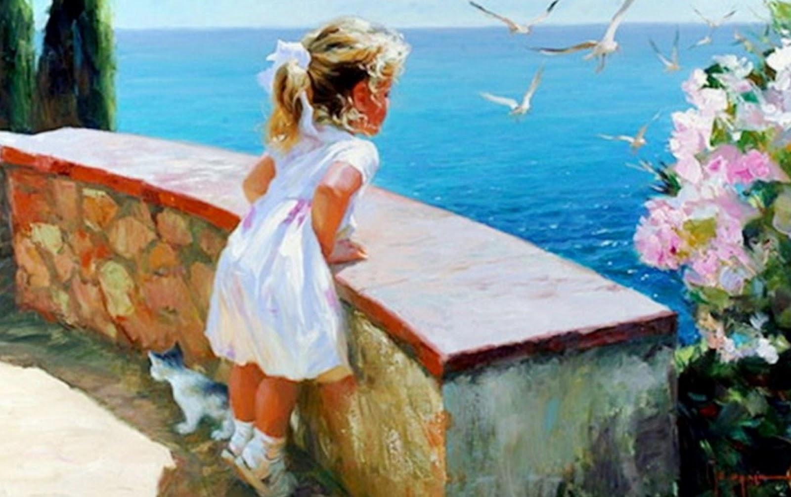 Cuadros Modernos Pinturas Y Dibujos Paisaje Marino Con Mujer